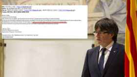 A la derecha, el expresidente catalán Carles Puigdemont. A la izquierda, un correo de la Conselleria de Empresa.