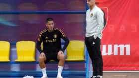 Hazard y Roberto Martínez con la selección belga