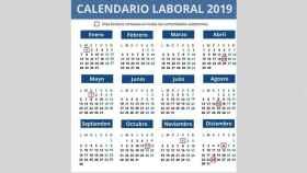 El calendario laboral de 2019.