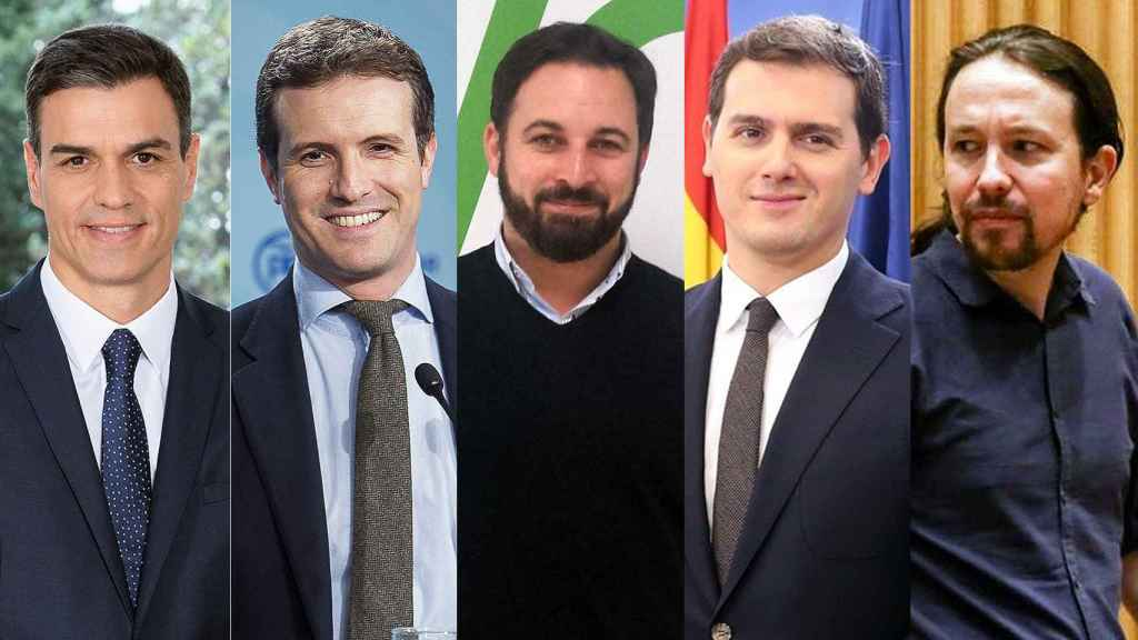 Sánchez, Casado, Abascal, Rivera e Iglesias, en un montaje.