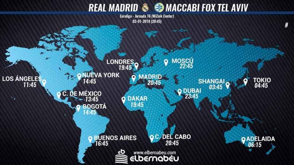 Horario Real Madrid - Maccabi