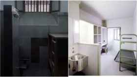 A la izquierda, la celda que aparece en el vídeo difundido por Òmnium. A la derecha, una celda de Lledoners.