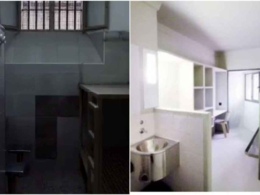 A la izquierda, la celda que aparece en el vídeo difundido por Òmnium. A la derecha, una celda real de Lledoners.