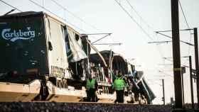 Uno de los trenes accidentados.