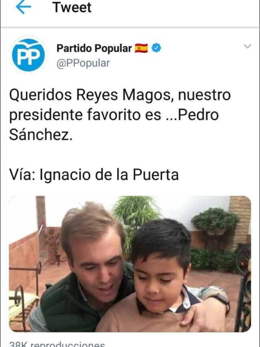 Tuit publicado por el PP.