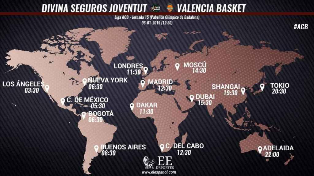 Horario Divina Seguros Joventut - Valencia Basket
