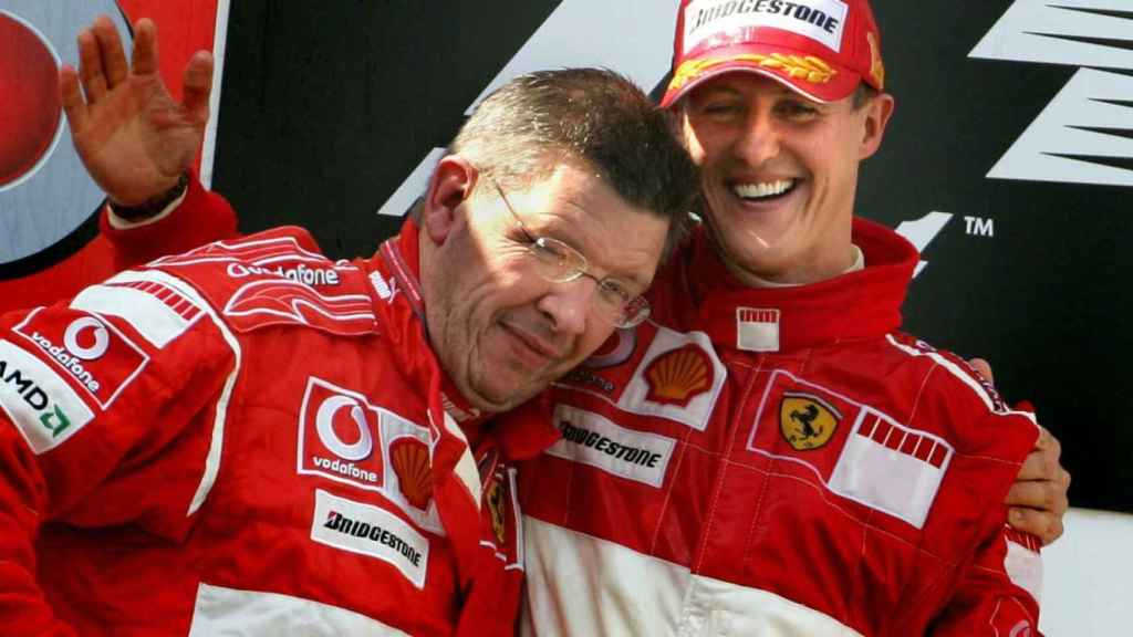 Michael Schumacher y Ross Brawn durante su etapa en Ferrari
