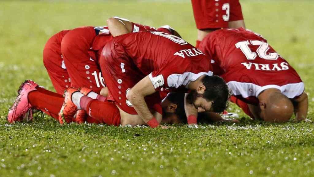 Jugadores de la selección de Siria