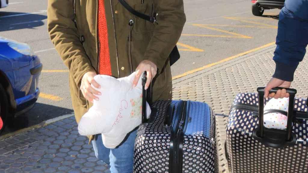 Irene Rosales en la estación de Atocha