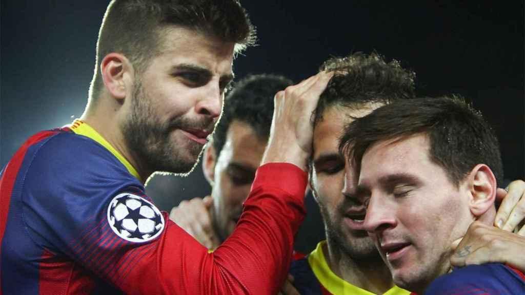 Gerrard Piqué, Cesc Fábregas y Leo Messi