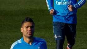Marcelo, durante un entrenamiento del Real Madrid