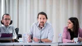 Pablo Iglesias, Irene Montero y Pablo Echenique en un Consejo de Podemos.