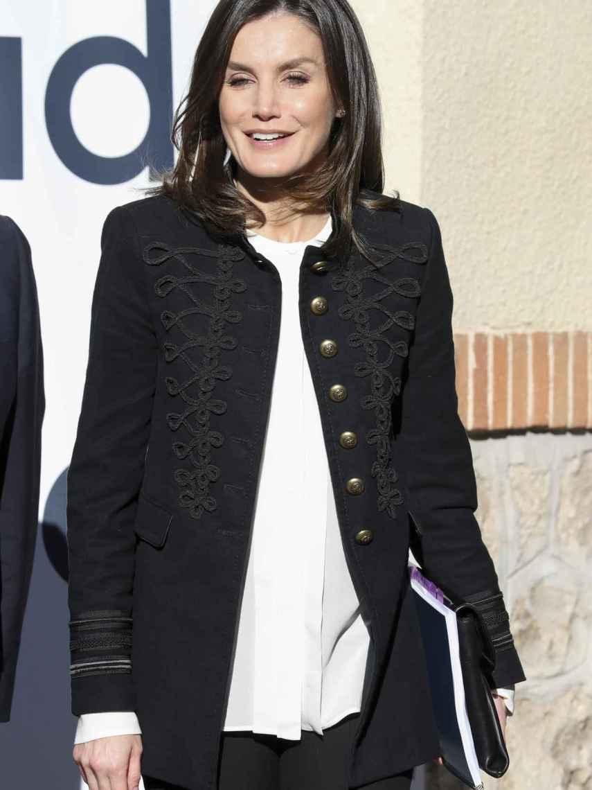 La reina Letizia en su último acto público en Madrid.