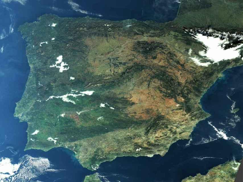 La Península Ibérica vista a través de la constelación de satélites Sentinel-3.