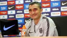 Valverde, en rueda de prensa. Twitter: (@FCBarcelona_es)