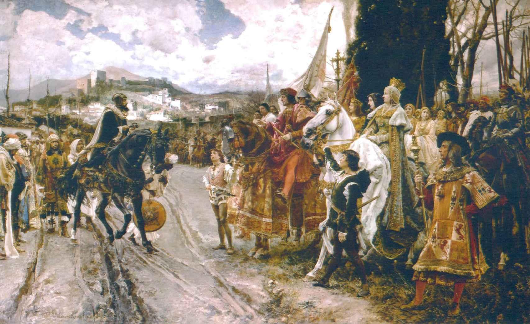 Francisco Pradilla y Ortiz pintó en 1882 el cuadro titulado 'La rendición de Granada'.