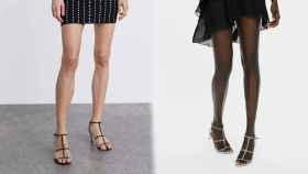 Las sandalias en plata y negro.
