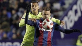 Borja Mayoral, delantero del Levante, durante el partido de Copa contra el Barça