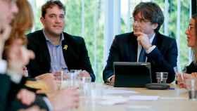 Puigdemont, con el presidente del PDeCAT, David Bonvehí en Waterloo