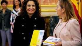 La ministra de Hacienda, María Jesús Montero, en la presentación de los Presupuestos en el Congreso, este lunes.