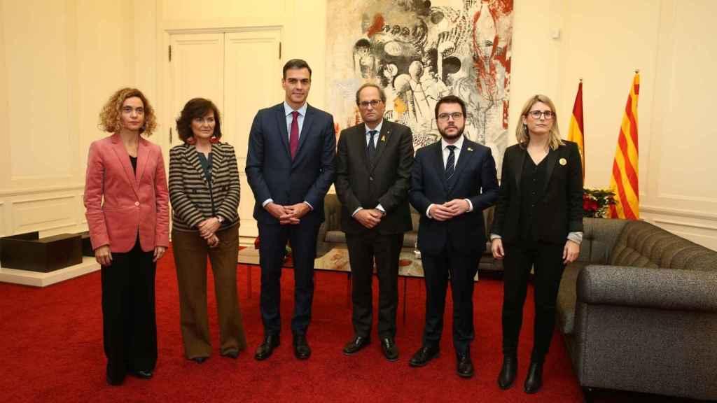 Batet, Calvo, Sánchez, Torra, Aragonès y Artadi en Barcelona.