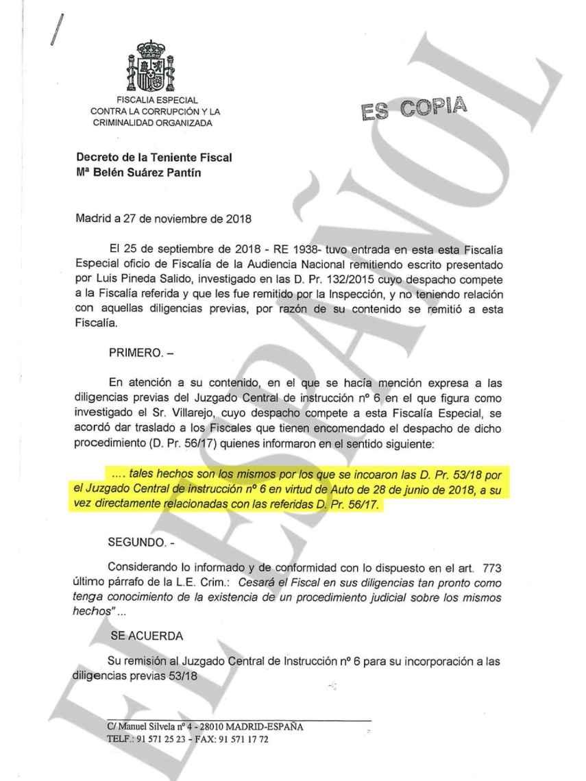 Documento de la Fiscalía Anticorrupción sobre la existencia de la pieza que investiga al BBVA.
