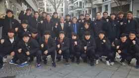 La selección unificada de Corea, antes de su debut en el Mundial de balonmano. Foto: ihf.info