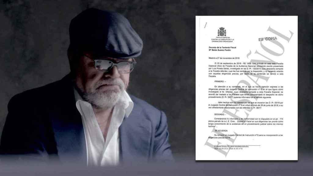 A la izquierda, el excomisario Villarejo. A la derecha, el documento de la Fiscalía que habla de la pieza secreta.