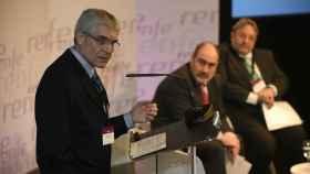 El presidente de Renfe durante la presentación a empleados del plan estratégico.