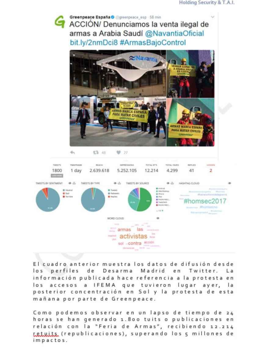 Una de las páginas del informe sobre grupos ecologistas.