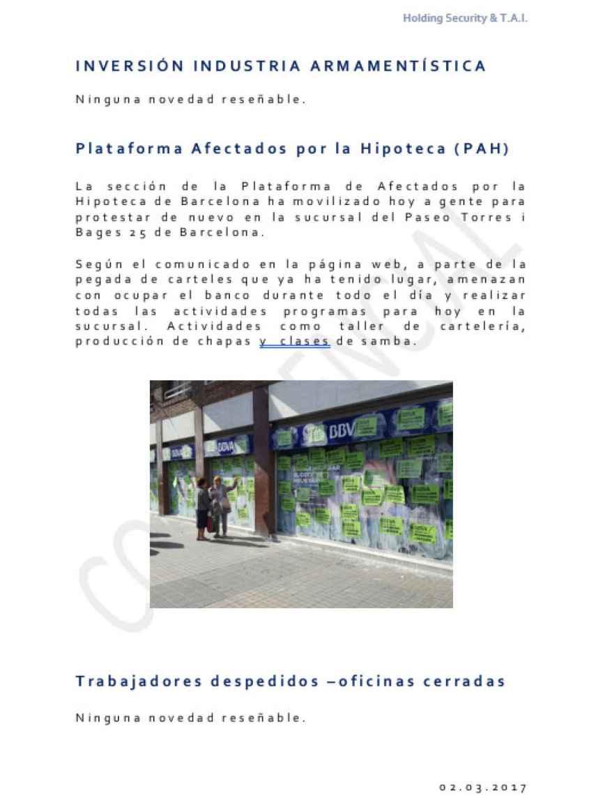 Informe sobre la pegada de carteles en una sucursal bancaria.
