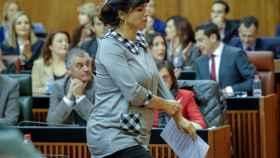 Teresa Rodríguez en el pleno de investidura a Juan Manuel Moreno Bonilla.
