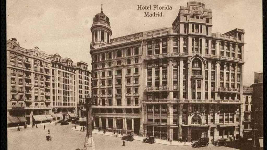 Fachada del Hotel Florida, en la plaza de Callao.