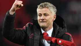 Ole Gunnar Solskjaer celebra la victoria del Manchester United ante el Tottenham Hotspur