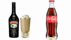 Una botella de Baileys junto a otra de Coca Cola.
