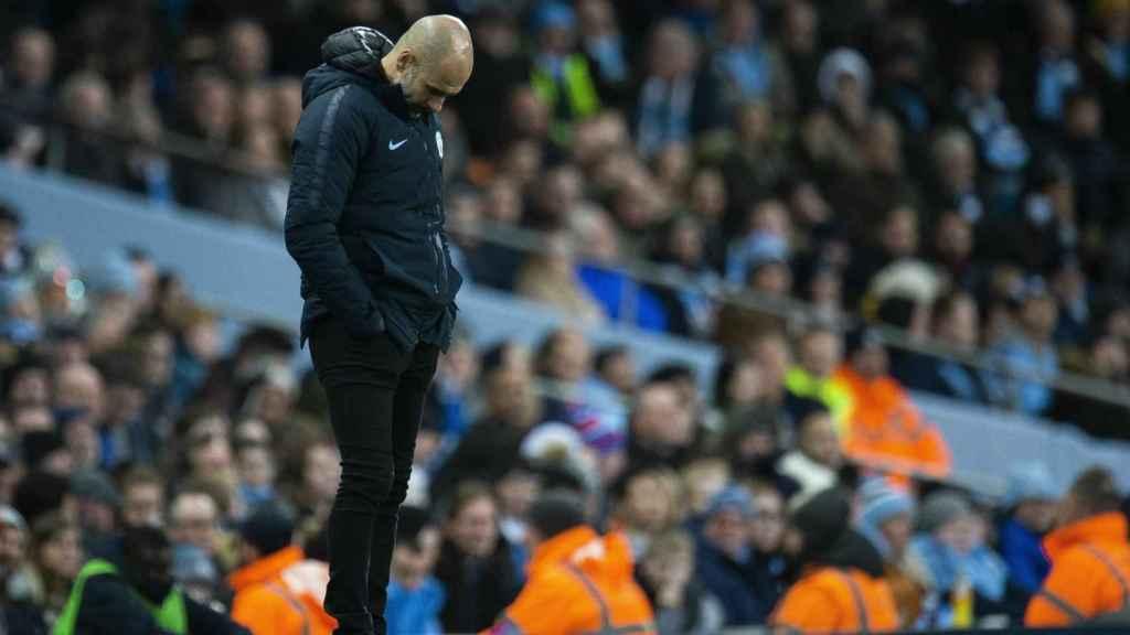 Pep Guardiola reacciona durante el Manchester City - Wolverhampton