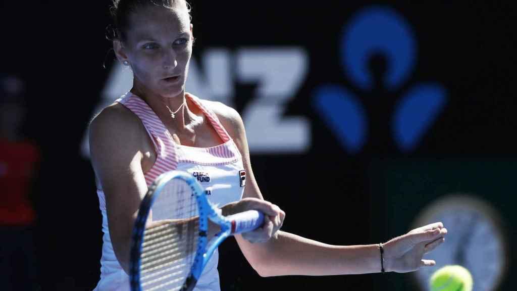 Pliskova, durante el partido contra Muguruza