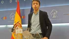 Íñigo Errejón, en la rueda de prensa de su renuncia al acta de diputado.