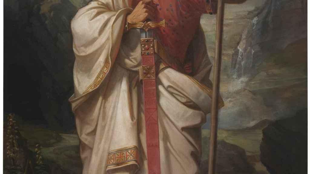 Don Pelayo, rey de Asturias. Un cuadro de Federico de Madrazo.