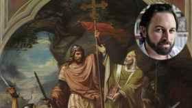 El cuadro 'Don Pelayo en Covadonga' y Santiago Abascal.
