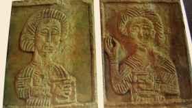 Los dos bloques de piedra robados de la iglesia de Quintanilla de las Viñas.