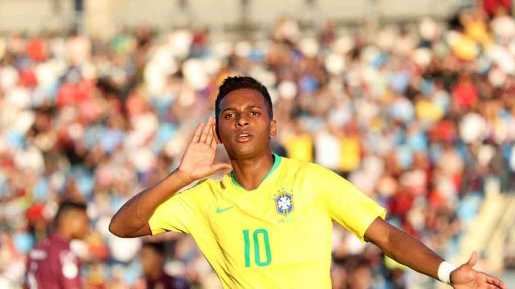 Rodrygo celebra un gol con la selección sub20. Foto: sub20chile2019.cl