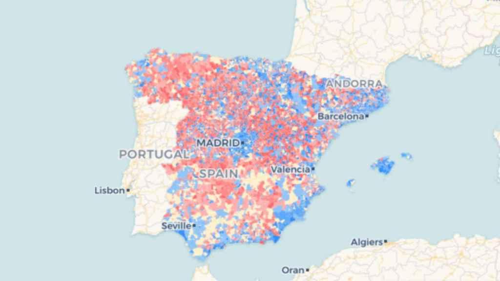 Mapa de la población en España en 2018.