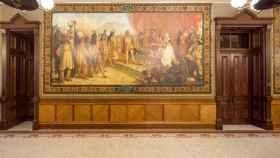 Uno de los murales sobre Cristóbal Colón en la universidad estadounidense.