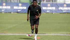 Ousmane Dembélé entrenando con el Barcelona. Foto: fcbarcelona.com