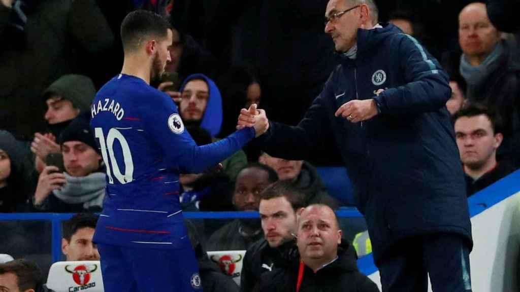 Hazard y Sarri, durante un partido del Chelsea