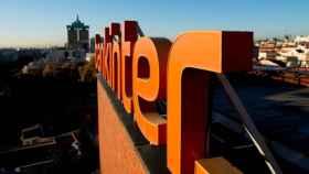 Logo de Bankinter en su sede de Madrid.
