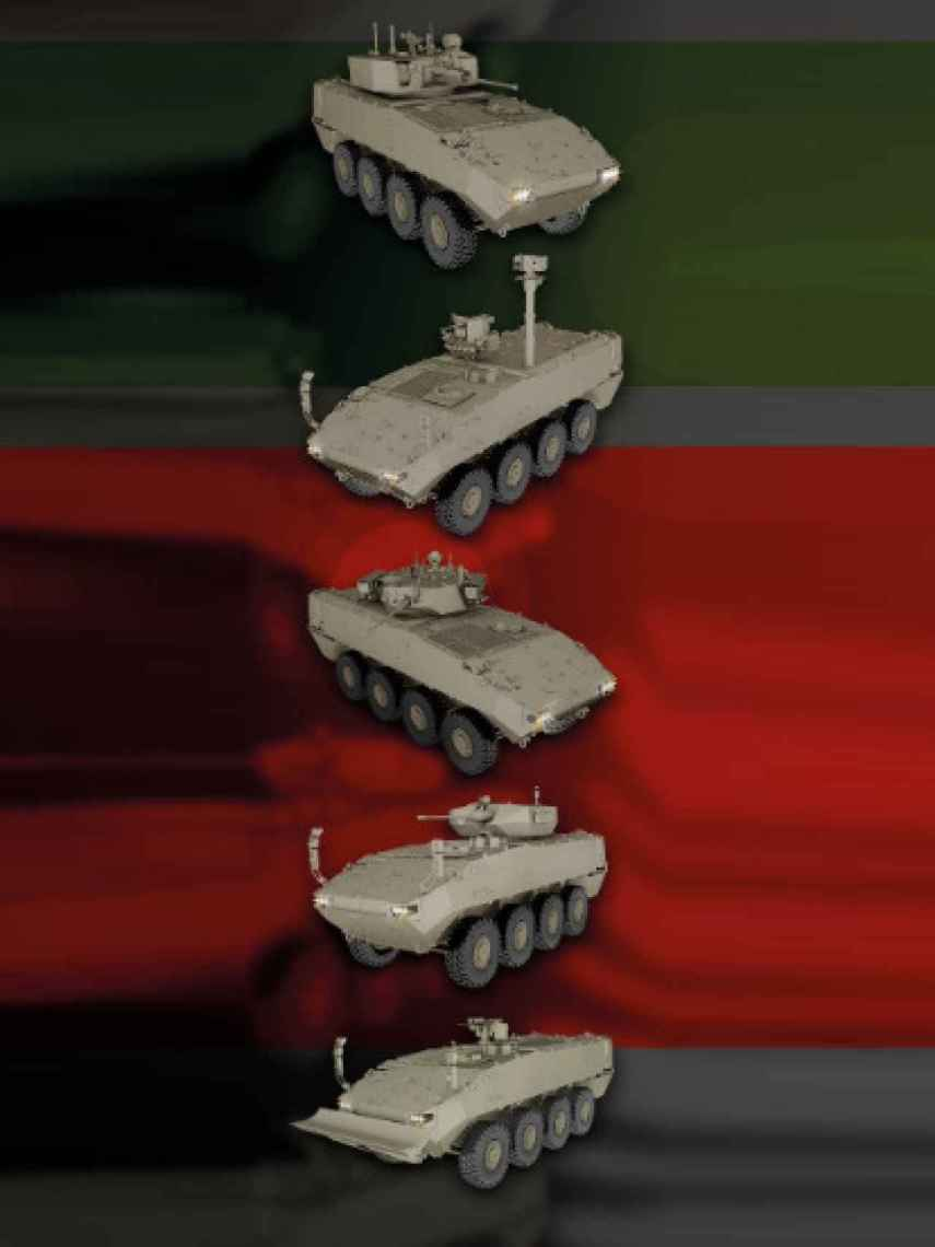 Diferentes modelos del vehículo 8x8 que adquirirá el Ejército de Tierra.