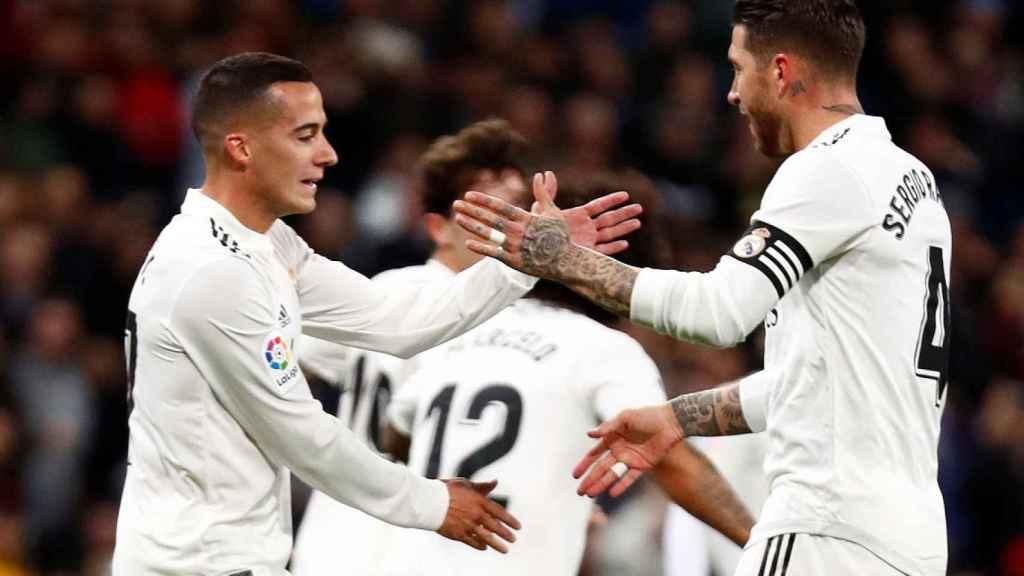 Lucas Vázquez celebra el gol del empate ante el Girona.