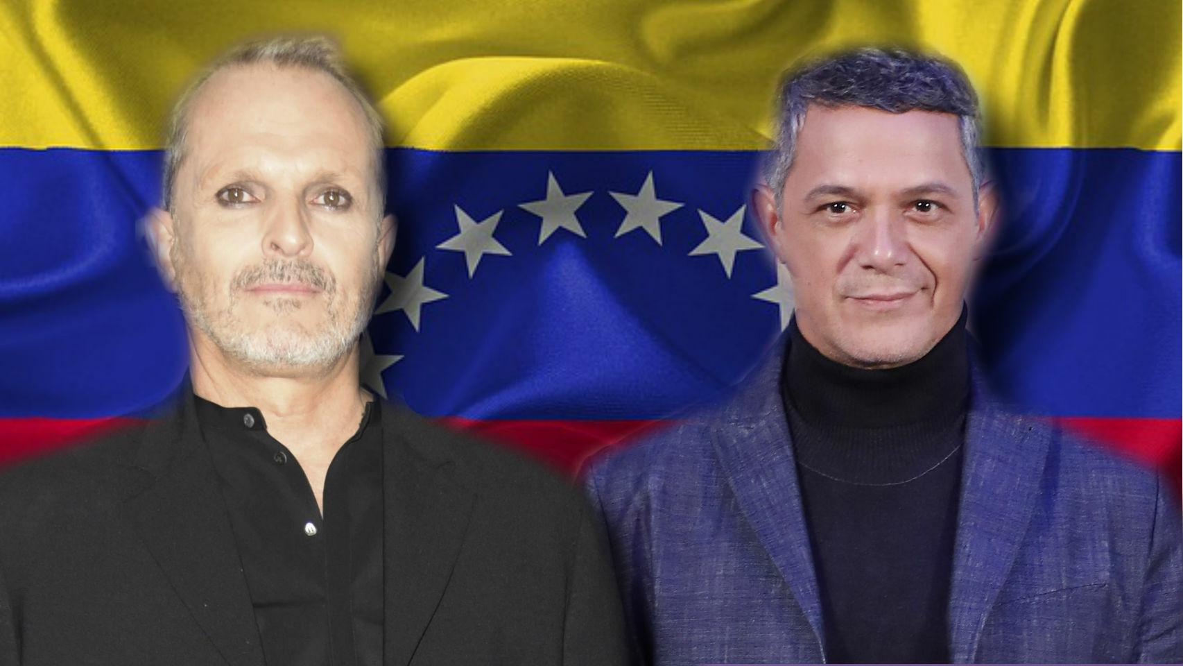 Miguel Bosé y Alejandro Sanz en un montaje de JALEOS frente a una bandera de Venezuela.